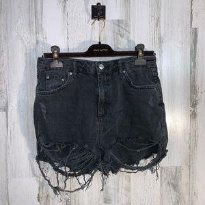 Top shop moto mom jean shorts destroyed frey